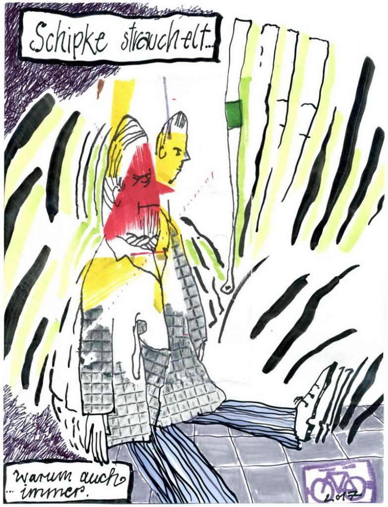 Zeichnung: Strauchelwissenschaftler V. Onmir, Rabenkalenderrückseite 6.2. 2017