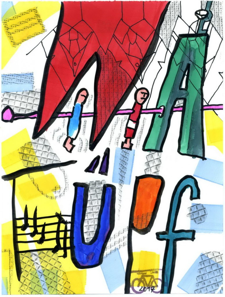 Zeichnung: TRIO WATÜPF Mitglied V. Onmir, Rabenkalenderrückseite 27.2. 2017