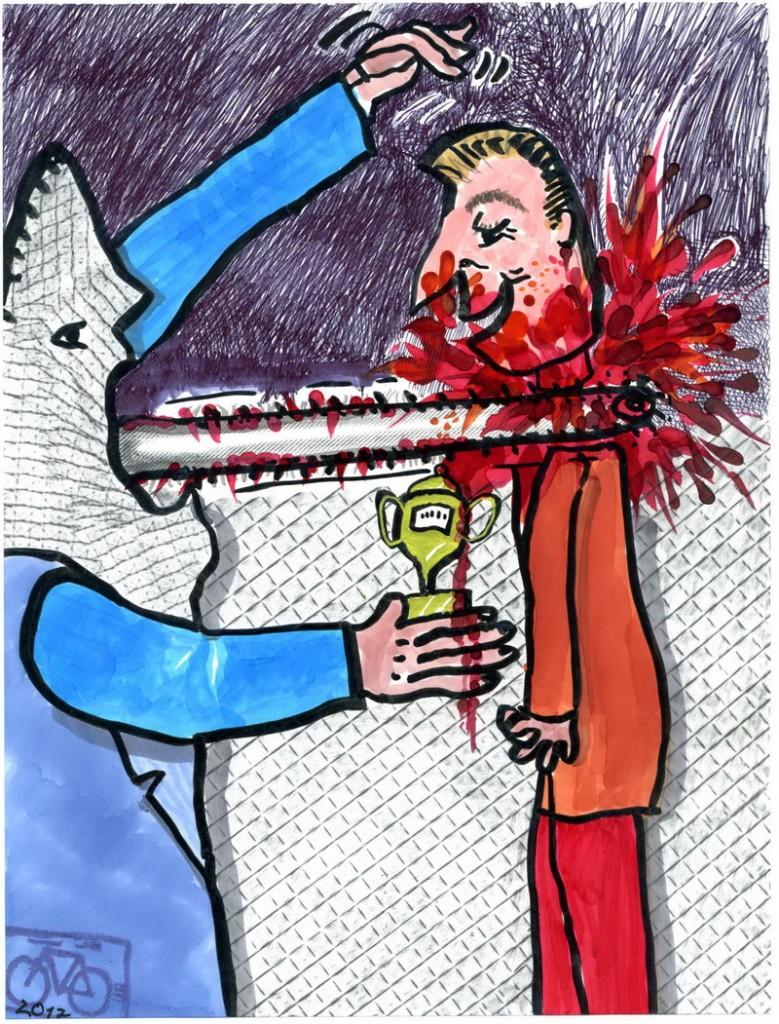 Zeichnung: Warner V. Onmir, Rabenkalenderrückseite 8.2. 2017