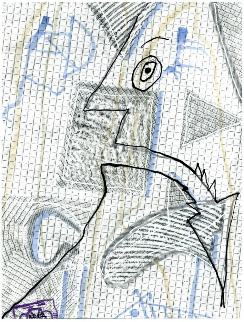 Zeichnung: da Vincist V. Onmir, Rabenkalenderrückseite 17.1. 2017