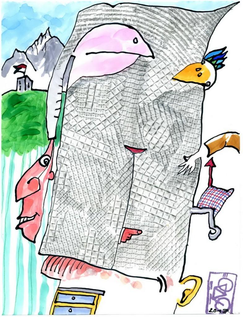 Zeichnung: AuchfürohneWortebrauchtmanWorte V. Onmir, Rabenkalenderrückseite 21.2. 2017