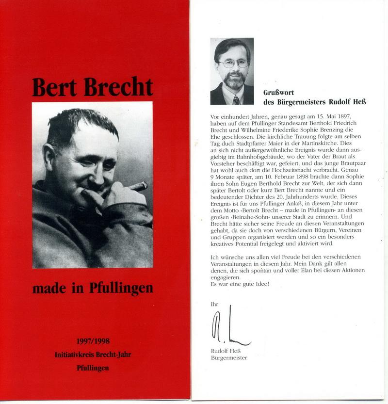 Prospekt Initiativkreis Brecht-Jahr Pfullingen 1997/1998