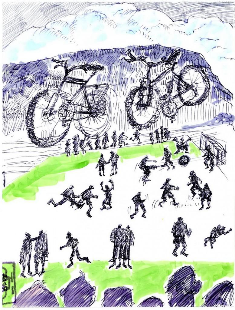 Zeichnung: Fahrradfußballer V. Onmir, Rabenkalenderrückseite 26.2. 2017